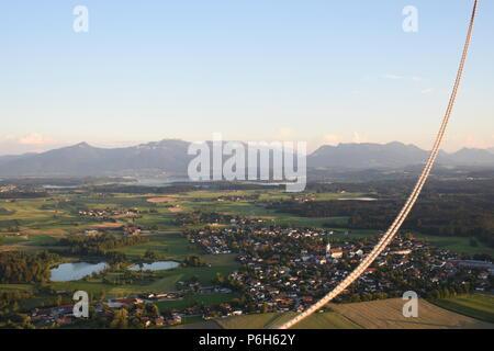 Fahrt mit dem Heißluftballon über den Chiemsee - Stock Photo