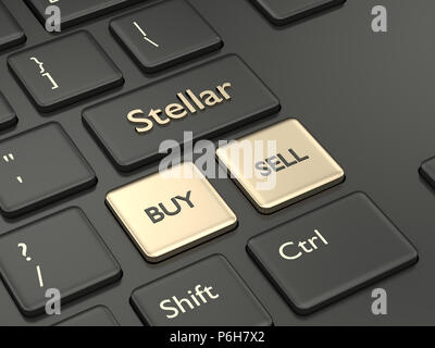 3d render of computer keyboard with Stellar button. Cryptocurrencies concept. - Stock Photo
