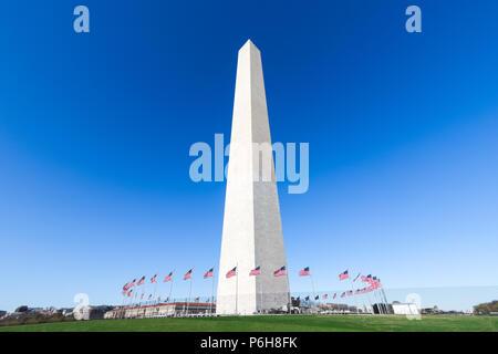 Washington Monument at National Mall with clear blue sky, Washington DC, USA - Stock Photo