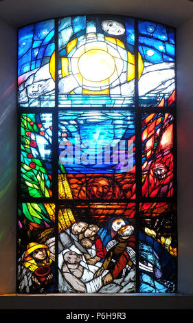 Stigmatization of Saint Francis of Assisi, stained glass window by Sieger Koeder in the Chapel of St. Francis in Ellwangen, Germany - Stock Photo