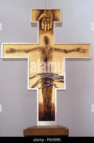 Cross by Sieger Koeder in the Chapel of St. Francis in Ellwangen, Germany - Stock Photo