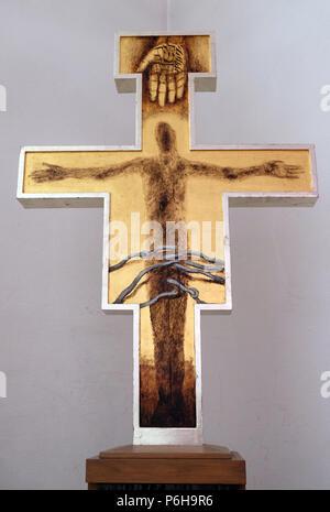 Cross by Sieger Koeder in the Chapel of St. Francis in Ellwangen, Germany - Stock Photo