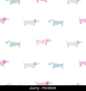Dachshund dog seamless vector simple colorful pattern. - Stock Photo