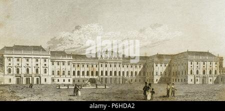 Austria. Vienna. 17th century. Schonbrunn Palace. Imperial summer residence. Engraving. - Stock Photo
