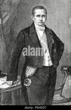 Otto Theodor von Manteuffel (1805-1882). Conservative Prussian statesman, serving nearly a decade as prime minister. Engraving by Kaeseberg. Historia Universal, 1885. - Stock Photo