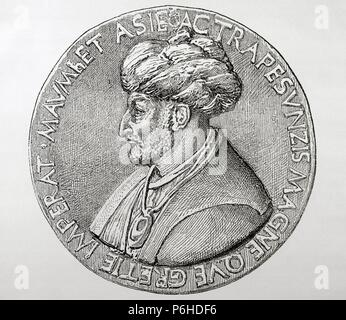 Mehmet III (1429-Istanbul, 1481), called Fatih (Conqueror). Turkish Ottoman Sultan (1451-1481). Conquered Constantinople. Engraving. Historia Universal, 1881. - Stock Photo
