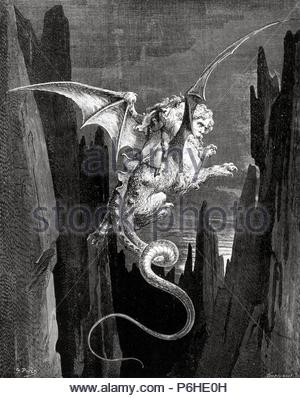 Gustave Dore, Dante's Inferno, Canto XVII New Terror I conceived from Milton's Paradise Lost. Illustrations by Gustave Doré, 1885. Artwork also known as: DIVINA COMMEDIA; LA DIVINE COMEDIE. - Stock Photo