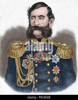 Mikhail Loris-Melikov (1826-1888). Russian-Armenian statesman. Engraving. Universal History, 1881. Colored. - Stock Photo