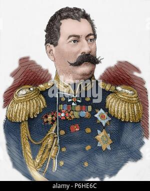 Mikhail Loris-Melikov (1826-1888). Russian-Armenian statesman. Engraving. The Spanish and American Illustration, 1877. Colored. - Stock Photo