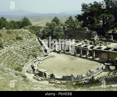 Turkey. Priene. Ancient Greek city. Theater. Hellenistic period and remodeled in Roman period. Anatolia. - Stock Photo
