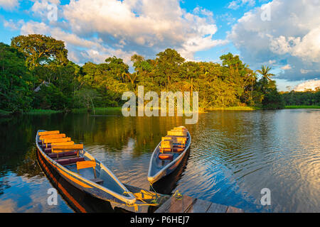 Two traditional wooden canoes at sunset in the Amazon River Basin with the tropical rainforest in the background, Yasuni National Park, Ecuador. - Stock Photo