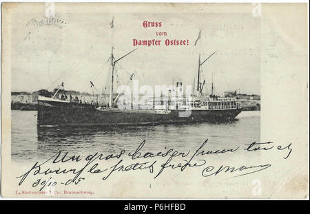 19051030 swinemunde dampfer ostsee. - Stock Photo