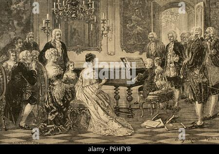 Mozart family grand Tour. Maria Anna (Nannerl) and Wolfgang Amadeus playing  before the Empress Maria Theresa (1717-1780) at the Imperial Court. Vienna, 1762. Engraving by R. Brend'Amour. - Stock Photo