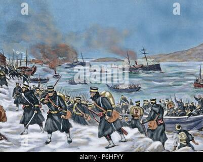 Russo-Japanese War (1904-1905). Landing of Japanese troops in Chemulpo. Engraving. Colored. - Stock Photo