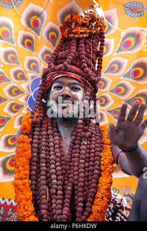 Amazing portrait of Naga saddhu sadhu baba during Maha Kumbh mela 2013 in Allahabad , India - Stock Photo