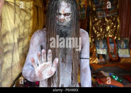 Portrait of Naga saddhu sadhu baba during Maha Kumbh mela 2013 in Allahabad , India - Stock Photo