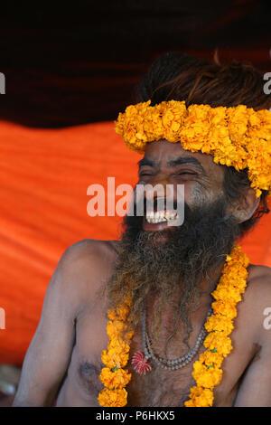 Naga sadhu saddhu baba during Shivaratri celebration in varanasi , India - Stock Photo