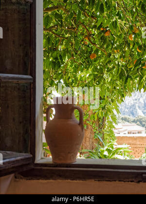 The view from the window in the monastery cell in Valldemossa, Majorca, where Frederic Chopin spent several months in 1838-39. - Stock Photo