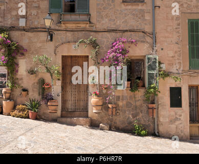 Street door with flowers, Valldemossa, Mallorca. - Stock Photo