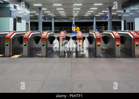 KUALA LUMPUR, MALAYSIA : September 9, 2017 : Entrance gate of Kuala Lumpur Mass Rapid Transit (MRT) stations. MRT alleviate the severe traffic congest - Stock Photo