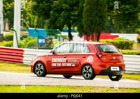Late life update MG 3 from SAIC being driven on the Tianma Race Circuit in Shanghai at an overseas media event. - Stock Photo