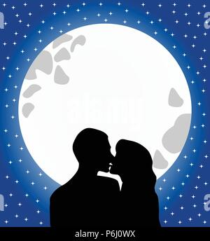 Silhouette of two lovers kissing against full moon in a starry romantic sky - Stock Photo