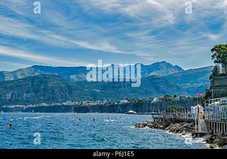 Sorrento Coastline from Marina Grande Italy - Stock Photo