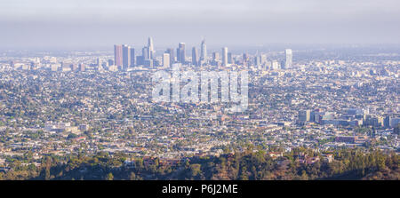 Scenic urban modern city landscape panoramic view of a Los Angeles downtown  from Hollywood hills located in California, USA. - Stock Photo