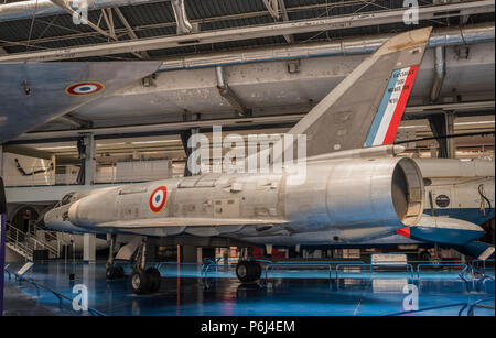 Le Bourget, Paris, France- May 04,2017: Dassault Mirage III.5 (1967)-multirole fighter 3rd generation in the Museum of Astronautics and Aviation Le Bo - Stock Photo
