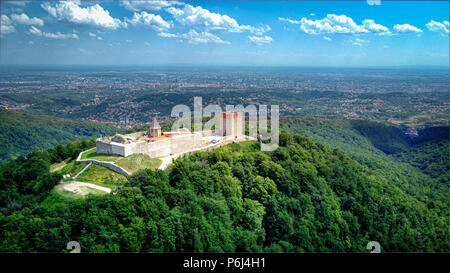 Drone shot at Sljeme - Mountain near capital of Croatia, Zagreb - Stock Photo