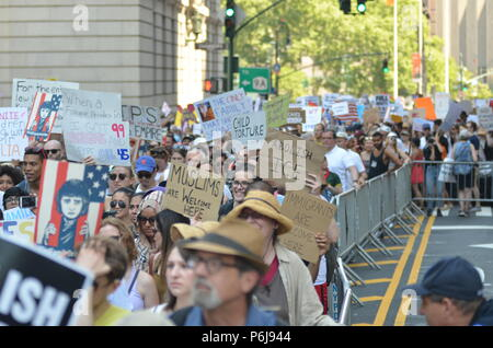 Manhattan, New York, USA. 30th June, 2018. Thousands of demonstrators and immigrant rights activists gathered at Foley Square in Lower Manhattan for the rally against ICE and immigrants deportation to keep families together. Credit: Ryan Rahman/Alamy Live News - Stock Photo