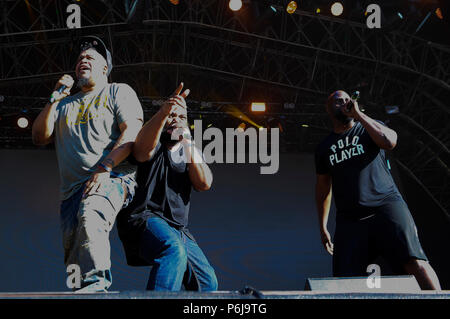 Glasgow, UK. 30th Jun, 2018. Fiesta X FOLD Festival Glasgow Glasgow.   The inaugural Fiesta X FOLD Festival in Kelvingrove Park, Glasgow.  Pictured are De La Soul performing on the Main Stage on Saturday 30th June 2018   Picture © Andy Buchanan Credit: Andy Buchanan/Alamy Live News Credit: Andy Buchanan/Alamy Live News - Stock Photo