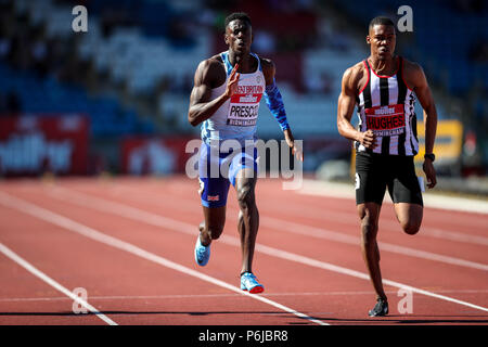 Alexander Stadium, Birmingham, UK. 30th June, 2018. The Muller British Athletics Championships; Reece Prescod (GBR) wins the 100 Metres Credit: Action Plus Sports/Alamy Live News - Stock Photo
