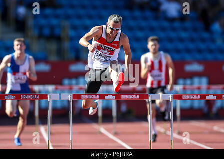 Alexander Stadium, Birmingham, UK. 30th June, 2018. The Muller British Athletics Championships; Niall Flannery (GBR) in the 400 Metres Hurdles Credit: Action Plus Sports/Alamy Live News - Stock Photo