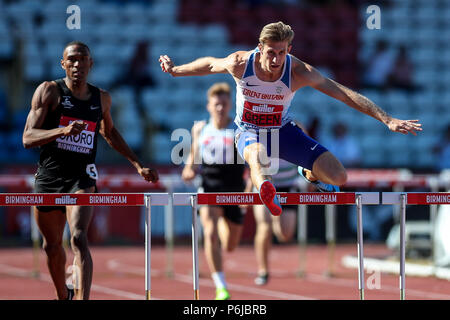Alexander Stadium, Birmingham, UK. 30th June, 2018. The Muller British Athletics Championships; Jack Green (GBR) in the 400 Metres Hurdles Credit: Action Plus Sports/Alamy Live News - Stock Photo