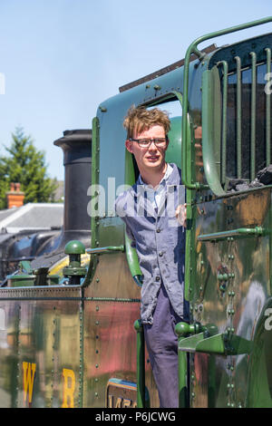 Kidderminster, UK. 30th June, 2018. A journey back in time begins on the Severn Valley Railway as all involved turn the clock back to the 1940s. Visitors and staff pull out all the stops to ensure a realistic wartime Britain is experienced by all on this heritage railway line. Credit: Lee Hudson/Alamy Live News - Stock Photo