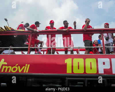 Panama City, Panama - Jun 30, 2018: Panama welcomes its national football team after participating in FIFA World Cup 2018 Credit: Mabelin Santos/Alamy Live News - Stock Photo