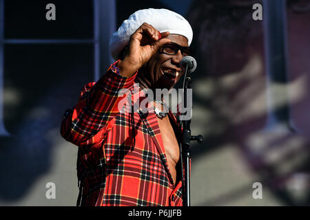 Glasgow, UK. 30th Jun, 2018. Fiesta X FOLD Festival Glasgow Glasgow.   The inaugural Fiesta X FOLD Festival in Kelvingrove Park, Glasgow.  Nile Rogers performs on the Main Stage on Saturday 30th June 2018   Picture © Andy Buchanan Credit: Andy Buchanan/Alamy Live News - Stock Photo