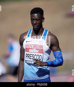 Alexander Stadium, Birmingham, UK. 30th Jun, 2018. The British Athletics Championships 2018. Reece Prescod wins the 100m final in 10.06 seconds. Credit: Andy Gutteridge/Alamy Live News - Stock Photo