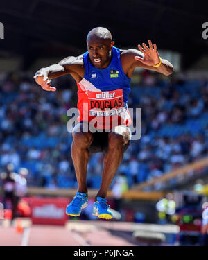 Alexander Stadium, Birmingham, UK. 30th Jun, 2018. The British Athletics Championships 2018. Nathan Douglas takes gold in the Mens Triple Jump final with 16.83m. Credit: Andy Gutteridge/Alamy Live News - Stock Photo