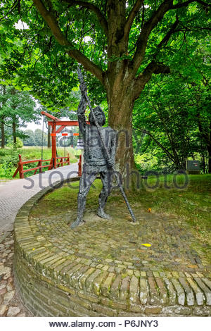Sculpture at the entrance to Vesting Bourtange, the star-shaped fortress in Groningen Province, The Netherlands - Stock Photo