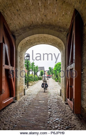 Entrance to Vesting Bourtange, the star-shaped fortress in Groningen Province, The Netherlands - Stock Photo
