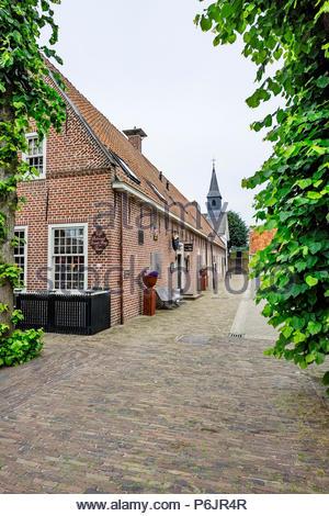 Hervormde Kerk (Reformed Church) and other buildings in Vesting Bourtange, The Netherlands - Stock Photo