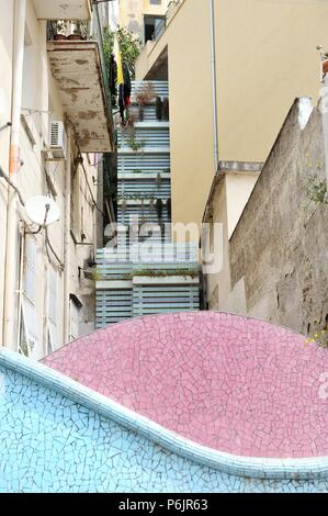 Architectural elements in the southern town of the Amalfi coast, Vietri Sul Mare, Italy - Stock Photo