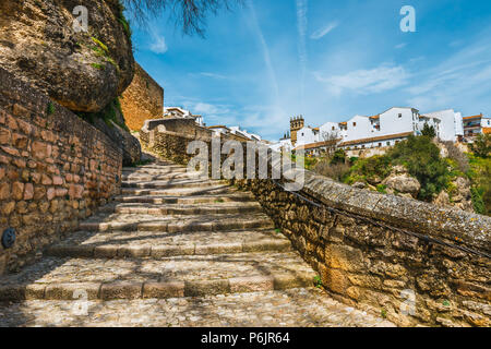 route to the ruins of the Arab baths in town of Ronda, Andalusia, Spain - Stock Photo
