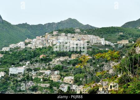 View on Albori, part of Vietri sul Mare, for its picturesque location is included in the category of the most beautiful villages of Amalfi Coast, Ital - Stock Photo