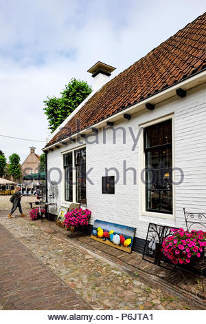 Gallery on the central market square in Vesting Bourtange, the star-shaped fortress in Groningen Province, The Netherlands - Stock Photo