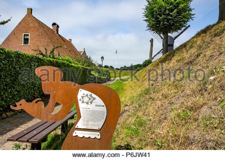 Metal sculpture at entrance to Vesting Bourtange, the star-shaped fortress in Groningen Province, The Netherlands - Stock Photo