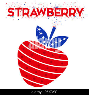 Illustration of a strawberry as a firecracker. Red, white and blue colors in a stars and stripes pattern. Holiday, modern, exciting. - Stock Photo