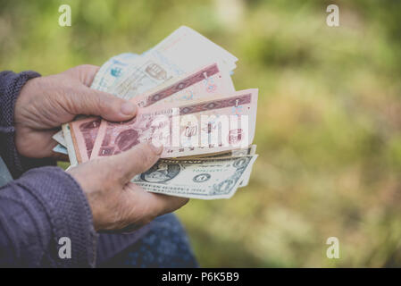 The old woman considers banknotes - hands and money close up - Stock Photo